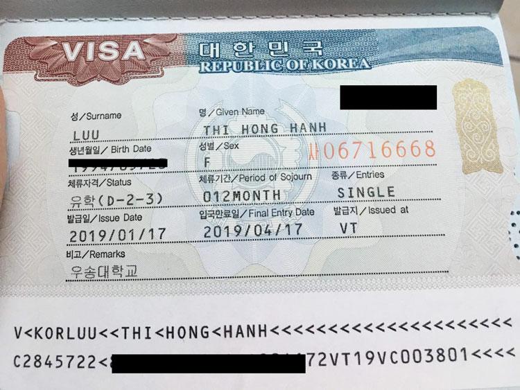 Lưu Thị Hồng Hạnh đậu visa du học thạc sĩ Hàn Quốc trường Solbridge