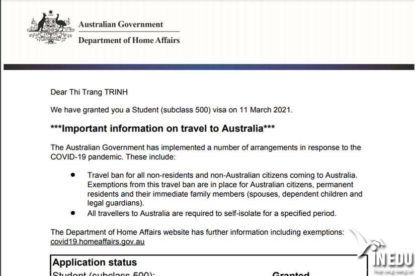 Liên tiếp học sinh đậu visa Úc
